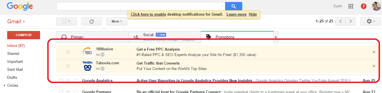 Gmail Sponsored Ads by Google AdWords